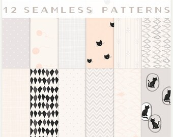 Cat Lovers & Others - JPG Files -Seamless Patterns - Digital Scrapbook - Paper Pack