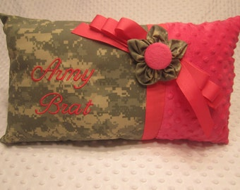 "Ready to Ship ~ Large Pillow Made with Army ""ACU"" Fabric ~ Embroidered ""Army Brat"" ~ Hot Pink Minky Dot Fabric ~ Fabric Flower and Bow"