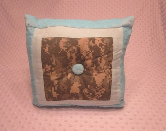 "Ready to Ship ~ Square Pillow Made with Army ""ACU"" Fabric ~ Turquoise Minky Dot Fabric"
