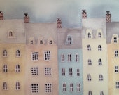 Village Rooftops, pale neutral colors, soft, watercolor and gouache, buildings, print of original painting