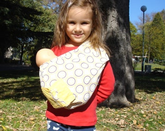 Yellow Doll Sling,Toy Wrap Carrier, Doll Carrier,Children Sling,Toy Pouch sling