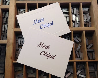 "Letterpress Note Cards ""Much Obliged"" - Set of 10 cards with matching envelopes"