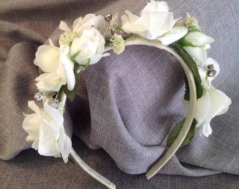 NICOLE Rose and Rinestone Headband Ivory