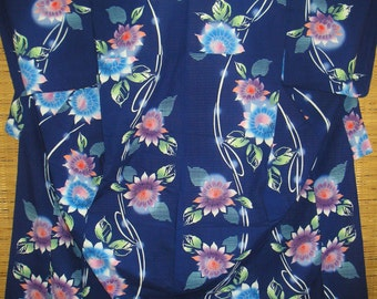 Japanese Yukata INDIGO BLUE SUNFLOWERS on Vintage Japanese Cotton Yukata Japanese Cotton Kimono Blue w/Pink Sunflowers - Pool Boudoir