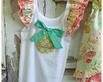 Girl Singlet Top - Willow - Art Gallery - Teal, Pink, Gold, White - Ruffle Sleeves & Bow - Little Girls Clothing by Old Vintage Bike