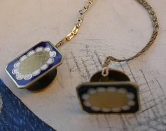 antique 18k gold vermeil Enamel sleeve button Cuff Links flower  deep blue white gold  man jewelry man shirt chic