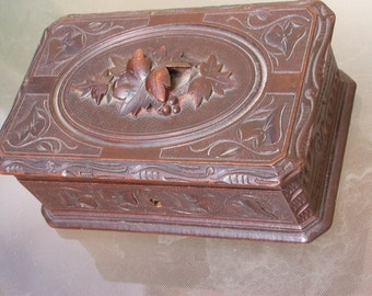 French antique art nouveau 1910s hard wood wooden jewelry box wood sculpture grape leaves ornate hand engraved carved jewelry case casket