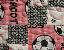 Soccer quilt in Pink, black and white. Fun!