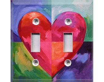 Big Heart Double Light Switch Cover
