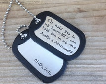 Hand stamped dog tag necklace personalized gift I'll hold you in my heart stainless steel custom dog tag jewelry