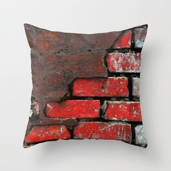 Brick Pillow Brick Pillow Cover Red Throw by TiffanyDawnSmith