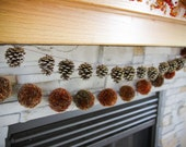 pinecone garland + yarn pom pom holiday garland **can be purchased seperately** - BannerBabble