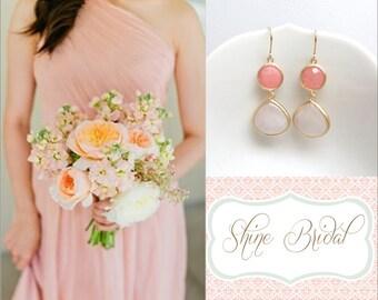 Pink Bridesmaid Earrings Blush Pink Earrings Coral Earrings Gold Earrings Pink Bridesmaid Rose Quartz Earring Pink Wedding Jewelry