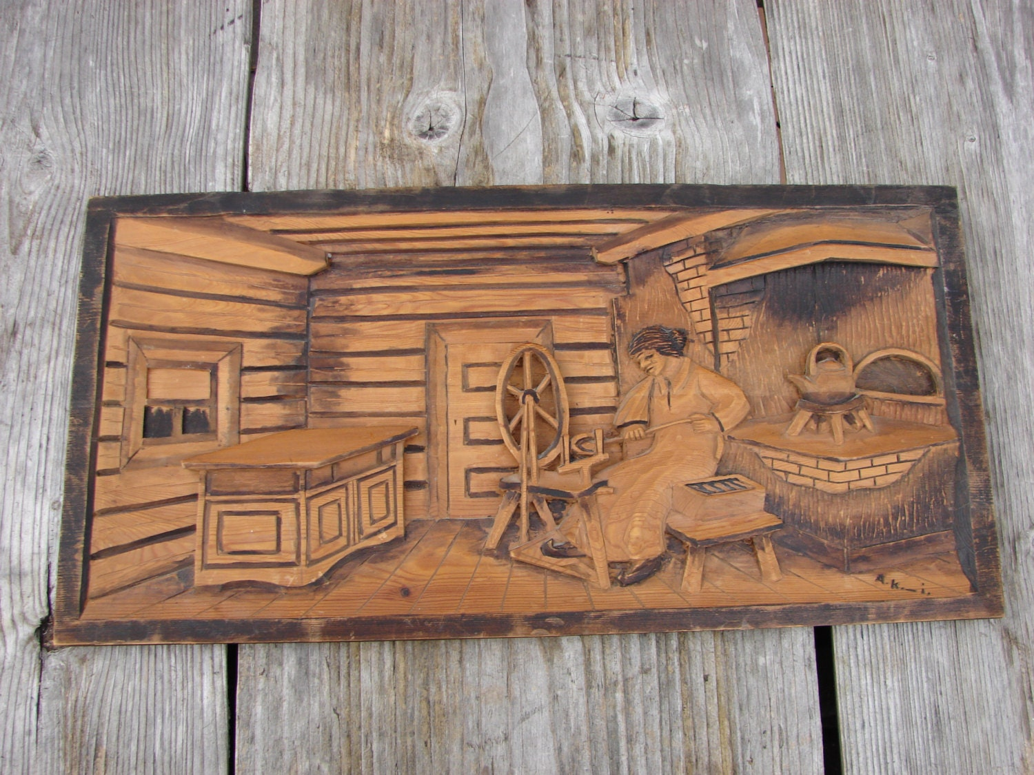 Vintage swedish wood carving large art frame old by luckytage