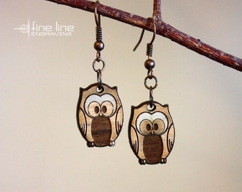 Wood Owl Earrings