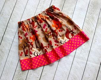 girl skirt fall skirt fox skirt for girls raspberry pink polka dot skirt girls fox skirt fall skirt twirly skirt fox outfit leaf outfit