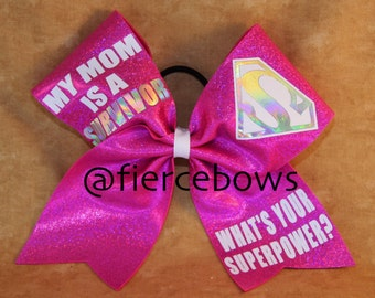 My Mom Is a Survivor Breast Cancer Awareness Bow