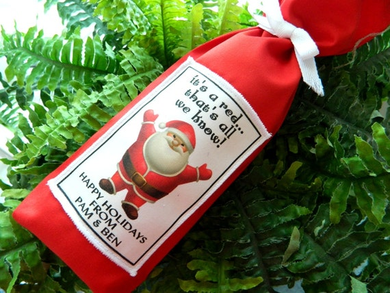 Christmas Wine Bag, Custom, Gift Bag, Holiday Bag, Funny Label, ITS A RED, Sack Santa Hostess Festive Party Dinner Friends Family