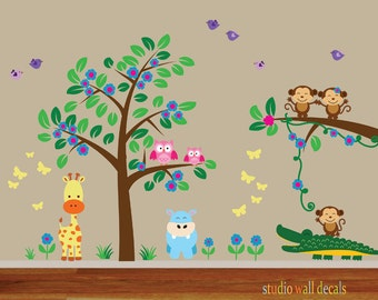 Childrens Tree Decal Reusable Peel and Stick Wall Decal - 935