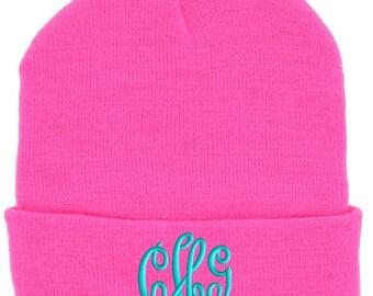 Hot Pink Monogrammed Beanie