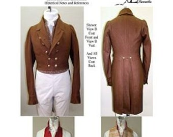 LM121/123 - Regency Tailcoat with Five Collar and Lapel Options and Regency Slip Vest & Vest Sewing Pattern by Laughing Moon