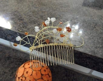 Gold Hair Comb With Moonstone And Amber