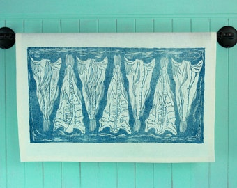 Block Printed, Salt Fish Tea Towel