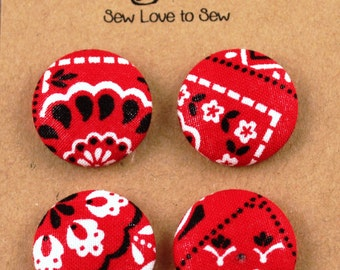Fabric Covered Button Magnets - Red Bandana