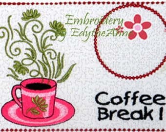 COFFEE BREAK Machine Embroidered Mug Mat/Mug Rug - 2  Sizes included- Digital Download