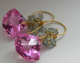 SALE. earrings. hot pink topaz. moss aquamarine.