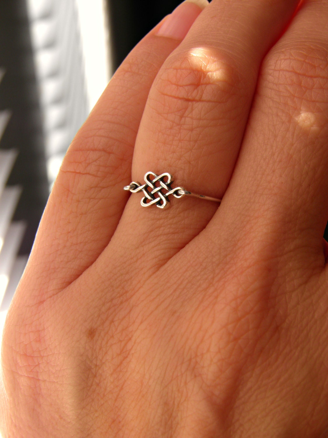 Silver celtic knot ring skinny ring stack stacking ring for Celtic ring tattoos