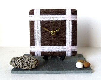 Wool Desk Clock / Small Wall Clock Chocolate Brown dark Brown and Pale Baby Pink Yarn