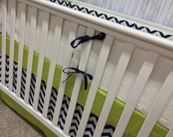 Custom Crib Bedding, Navy Lime Crib bedding, Boy Girl Crib bedding,Chevron Crib bedding,Baby Bedding,Baby Blanket,Curtains