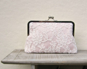 Blush clutch, blush bridal clutch, lace wedding clutch, blush bridesmaid clutch, pink lace purse, pink clutch, blush wedding, uk clutch