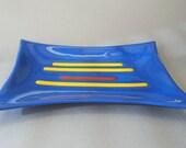 Fused Glass Dish Blue Retro