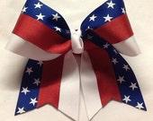 Red, White, Blue, Patriotic, Star, Dance, Cheer, Gymnastics, Hair Bow, Hair Accessory