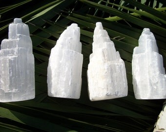 Selenite ~ 1 Reiki infused 4 inch rough tower