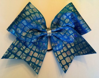 Cheer Bow - Turquoise and Silver
