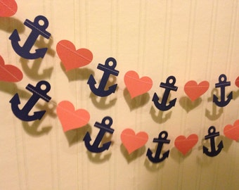 Navy blue and Coral Anchors and Hearts Paper Garland -Wedding Garland  Decoration -  Bridal Shower Decor - Nautical Decor Custom Color 10ft