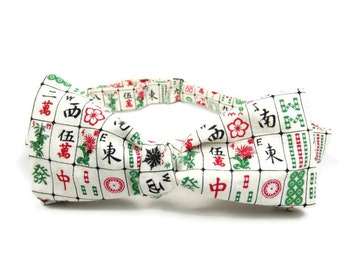 Mahjong bowtie, Mah jong tiles, chinese bowtie, game bowtie, chinese tile game,  Mahjong tie, cream red green bowtie, Mens bowtie