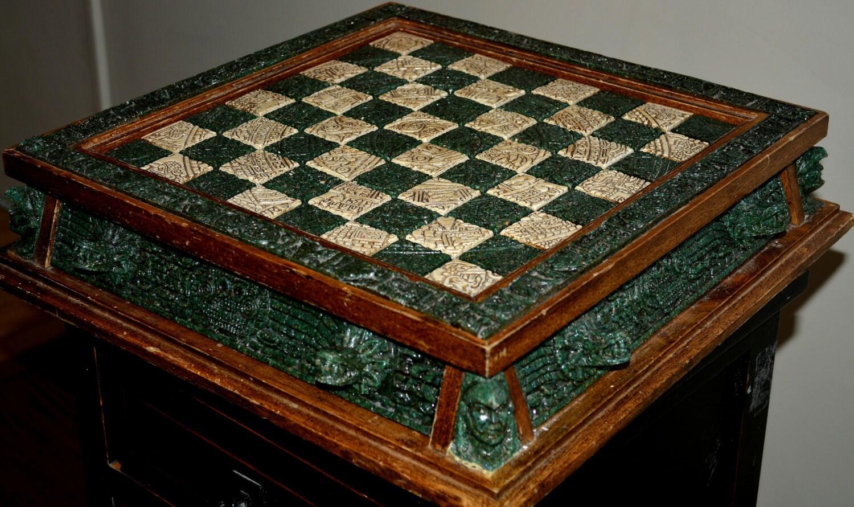 Maya aztec style stone chess set - Granite chess set ...