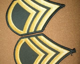 2 Vintage ARMY PATCHES Military Shoulder Ranks Bars Uniform U.S. - Staff Sergeant