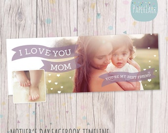 Mothers Day Facebook timeline Photoshop template - HM007 - INSTANT DOWNLOAD