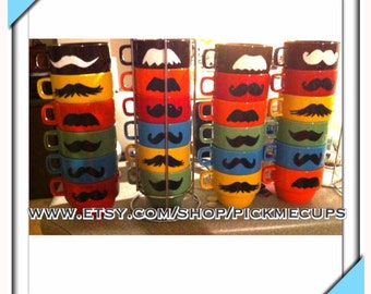 Stackable Mustache Mug Set - Stacking Mugs-Mustaches- Father's Day gifts- mustache mug- gift set- coffee mug gift set- mustache mugs- gifts