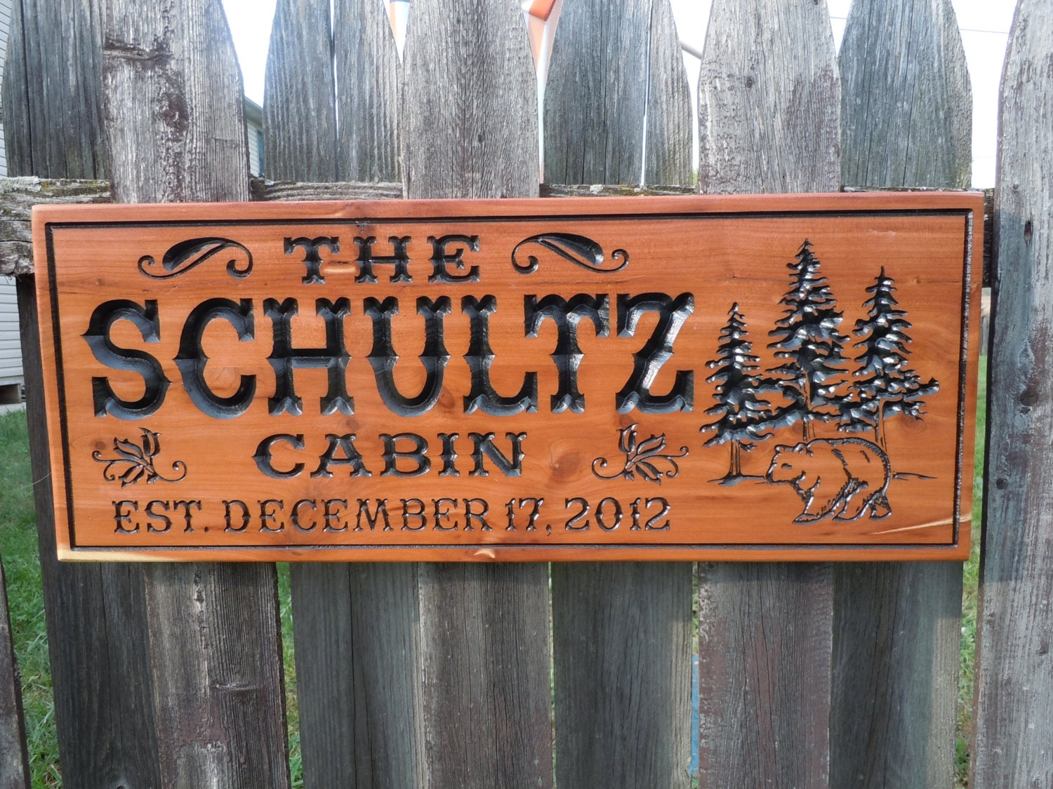 Cabin sign hunting camp personalized family lodge last name for Cabin signs wood