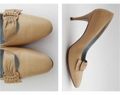 Tan Leather High Heel Pumps - Palizzio Size 6.5 Stilettos - Vintage 1960s Ladies Shoes