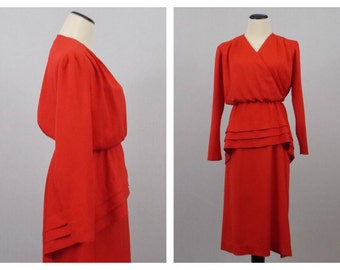 Red Peplum Dress - Long Sleeve Red Secretary Dress - Vintage 1980s Hal Hardin Dress
