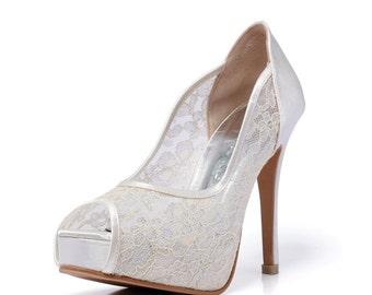 Trailblazer, Ivory Lace Wedding Shoe, Peep Lace Satin Wedding Heels, Ivory White Bridal Shoes, White Wedding Shoes