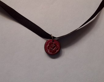 Tiny hand painted wooden rose choker on black ribbon