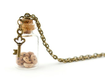 Cookies in a jar necklace - miniature little bottle pendant - polymer clay chocolate chip cookies necklace